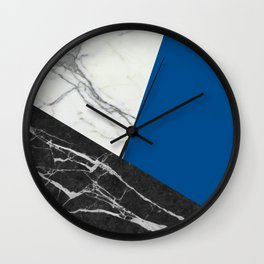 Black and white marble with pantone lapis blue Wall Clock