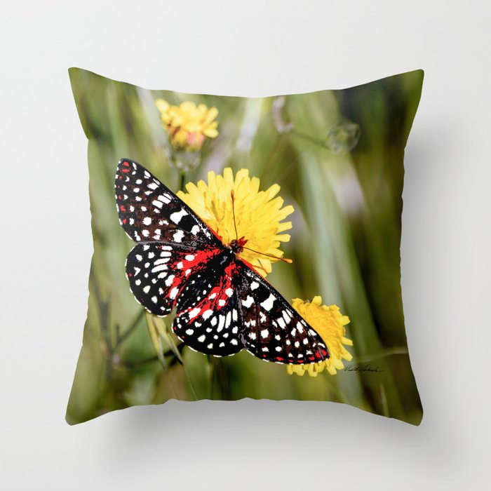 A Red Dotted Checkerspot Throw Pillow