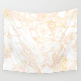 White Marble Pastel Pink and Gold by Nature Magick Wall Tapestry