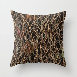 Branches in a dark forest Throw Pillow