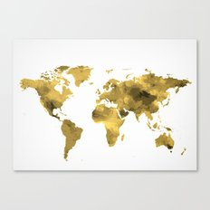 Gold World Map Canvas Print