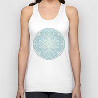bedding Tank Tops featuring Floral Pattern in Duck Egg Blue & Cream by micklyn