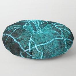 Kansas City, MO, USA, Blue, White, Neon, Glow, City, Map Floor Pillow