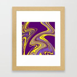 Purple and Yellow Fluid Painting Framed Art Print