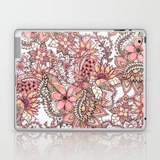 Boho chic red brown floral hand drawn pattern Laptop & iPad Skin