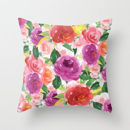 Hand painted pink purple watercolor roses floral Throw Pillow