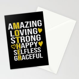 Mother Amazing Loving Strong Happy Selfless Stationery Cards