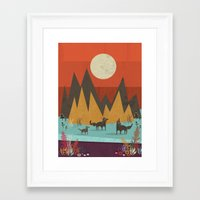 wolves Framed Art Prints featuring Wolves by Kakel