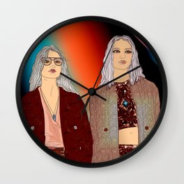 Social Jetlag - Mean Girls Stare, Nice Girls Smile - Digital Art Wall Clock