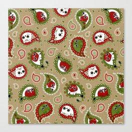 Cat Paisley Christmas Canvas Print