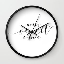 Amor Vincit Omnia, Love conquers all, Latin Quote Print, Anniversary Gift, Wedding Gift, Quote Wall Clock