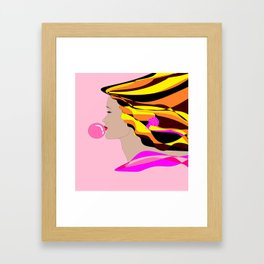 A Girl and Bubble Gum Framed Art Print