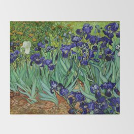 Van Gogh Purple Irises at St. Remy Throw Blanket