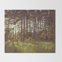 Summer Forest Sunlight - Nature Photography Throw Blanket