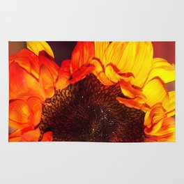 Close-up of a Bright Orange and Yellow Sunflower Rug