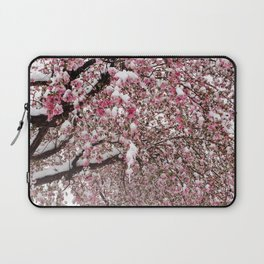 Elegant pink white nature snow cherry blossom floral Laptop Sleeve