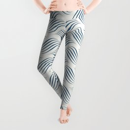 Dark Blue Wavy Tessellation Line Pattern on Off White - 2020 Color of the Year Chinese Porcelain Leggings