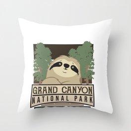 Grand Canyon National Park Sloth Hiking Team Throw Pillow