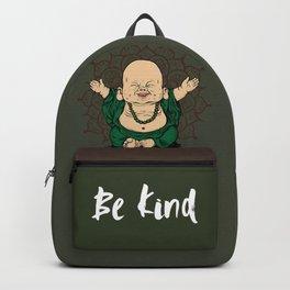 Be Kind Little Buddha Cute Smiling Buddha over mandala Backpack
