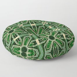 Art Deco Floral Tiles in Emerald Green and Faux Gold Floor Pillow