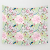 shabby chic Wall Tapestries featuring Shabby Chic Bluebirds and Roses by KarenHarveyCox