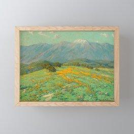 Granville Redmond snow cap spring landscape painting orange flowers green field Framed Mini Art Print