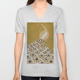 Peacock in Gold Unisex V-Neck
