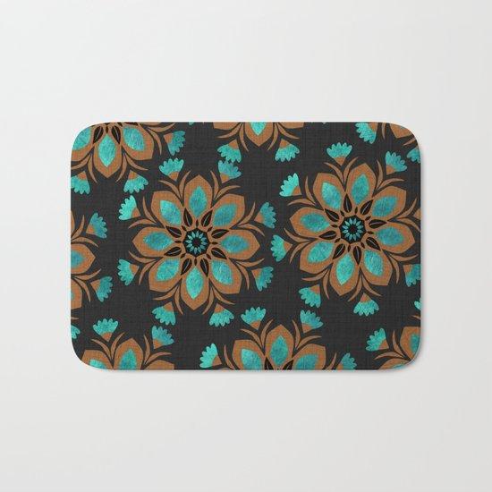 Teal & Brown Decorative Flowers Design Bath Mat