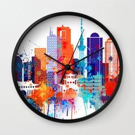 Tokyo Watercolor Skyline Wall Clock
