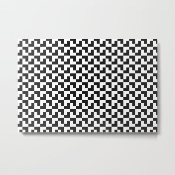 Black and White Tessellation Pattern - Graphic Design Metal Print