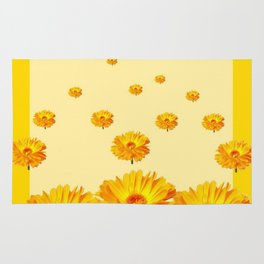 FLOATING GOLDEN FLOWERS YELLOW COLLAGE Rug