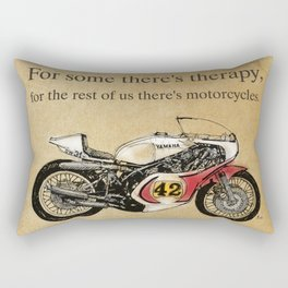 """""""For some there's therapy. For the rest of us there's motorcycles"""" Yamaha Original Handmade Drawing Rectangular Pillow"""