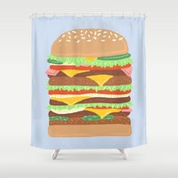 burger Shower Curtains featuring BURGER by Hannah Bailey