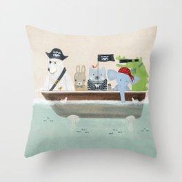 the pirate tub Throw Pillow