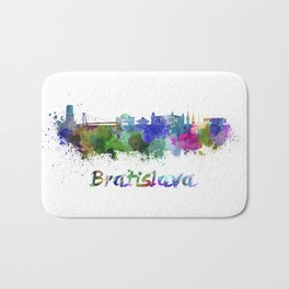 Bratislava skyline in watercolor Bath Mat