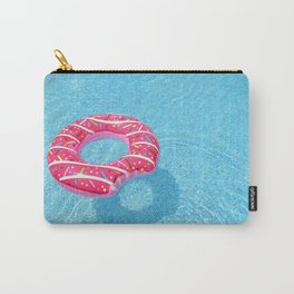 Pink Doughnut Float in a Blue Swimming Pool Carry-All Pouch
