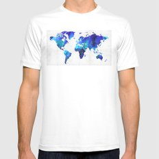 World Map 17 - Blue Art By Sharon Cummings MEDIUM White Mens Fitted Tee