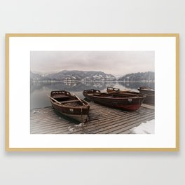 Rowing Boats At The Lake Bled Framed Art Print