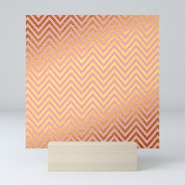 Chevron Herringbone pattern rosegold - gold metal glitter on pink watercolor Mini Art Print