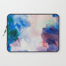 Dreamy Purple Blue and Green Watercolor Wash Painting Laptop Sleeve