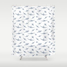 Blue Airplanes Shower Curtain