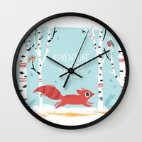 adventure Wall Clocks featuring Adventure Awaits by Freeminds