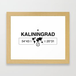 Kaliningrad Oblast with World Map GPS Coordinates and Compass Framed Art Print
