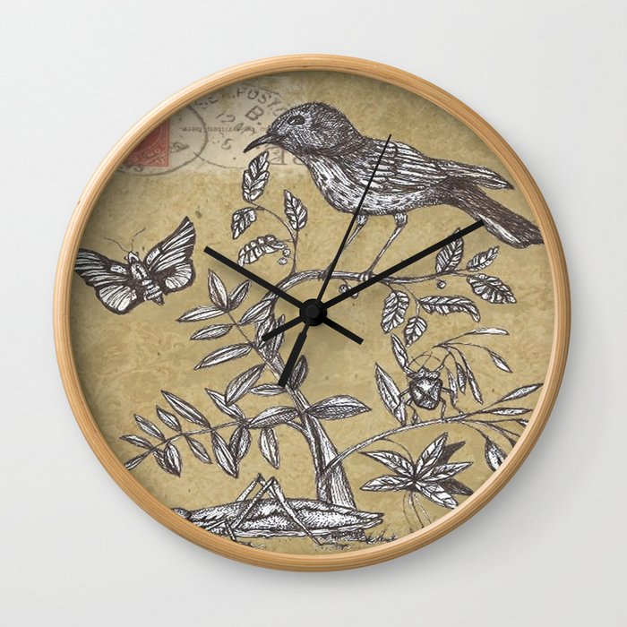 Vintage Birds and Bugs Wall Clock