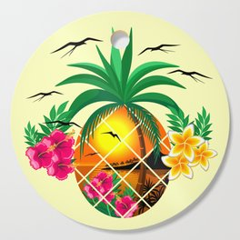Pineapple Tropical Sunset, Palm Tree and Flowers Cutting Board