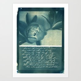 Peony and Poem, collage, blue print, wall art, wall decor, home decor, cyanotype Art Print