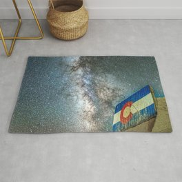 Colorado Living // Milky Way Galaxy Long Exposure Photograph Incredible Starry Night and State Flag Rug