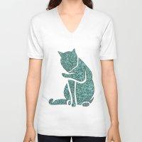 sassy V-neck T-shirts featuring Sassy Cat by Rudi Rodebush