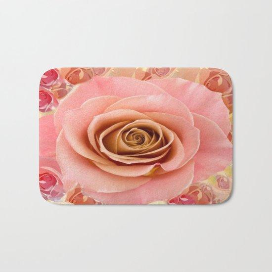 Peach Rose Garden Bath Mat
