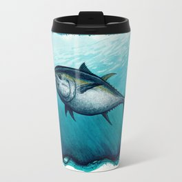 Bluefin Tuna ~ Watercolor Painting by Amber Marine,(Copyright 2016) Travel Mug